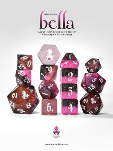 Bella 14pc - Limited Run - Silver Ink Dice Set