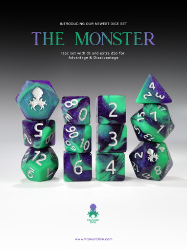 The Monster 12pc  RPG Dice Set