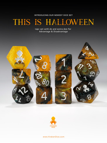 This is Halloween 12pc  RPG Dice Set