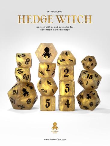 Hedge Witch: Gold Shimmer 14pc Black Ink Dice Set