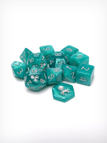 Feytfull Turquoise 12pc 10mm Mini RPG Dice Set