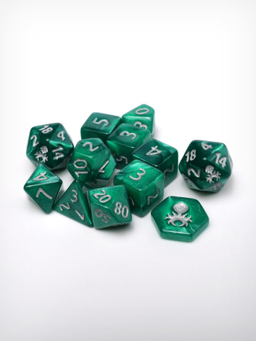 Feytfull Jade 12pc 10mm Mini RPG Dice Set