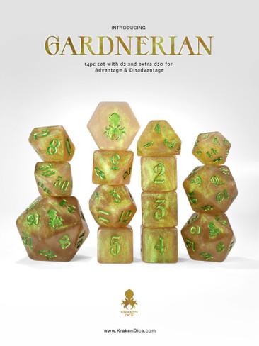 Gardnerian : Green Gold Shimmer 14pc Green Ink Dice Set