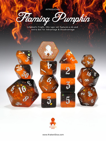Flaming Pumpkin: Ichabod's Fright 14pc - Limited Run - Silver Ink Dice Set