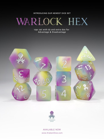 Warlock Hex 12pc Glow in the Dark RPG Dice Set