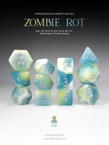 Zombie Rot 12pc Glow in the Dark RPG Dice Set
