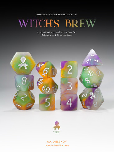 Witches Brew 12pc Glow in the Dark RPG Dice Set