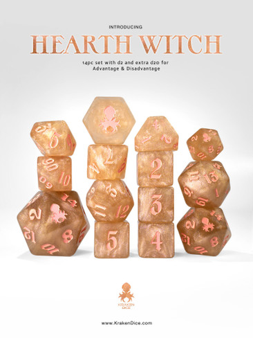 Hearth Witch: Gold Shimmer 14pc Pink Ink Dice Set