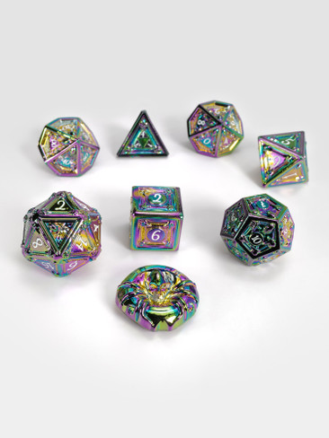 Geometric Horrors: Ghostly Rainbow Eyes TTRPG Dice Set