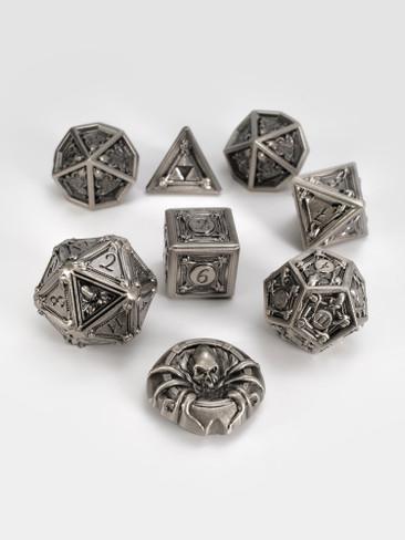 Geometric Horrors: Silver Golem Eyes TTRPG Dice Set