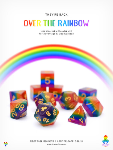 Over The Rainbow 11pc Dice Set With Kraken Logo