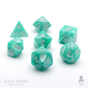 Aqua Pearl Dice Set With Silver Numbers For DnD