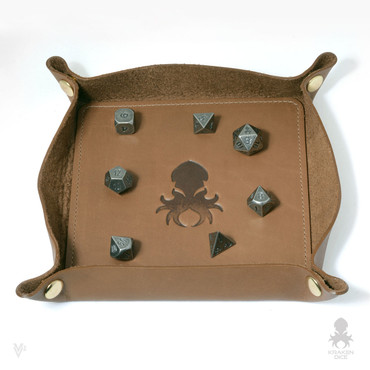 Leather Dice Tray In Caramel