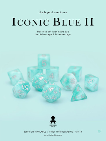Iconic Blue 2 Dice Set With Kraken Logo 11pc Set