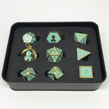 Pharaoh's Gold Turquoise Metal RPG Dice