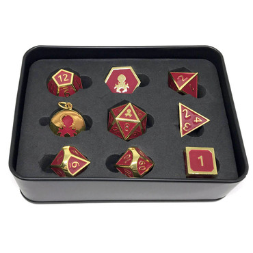 Pharaoh's Gold Garnet Metal DnD Dice