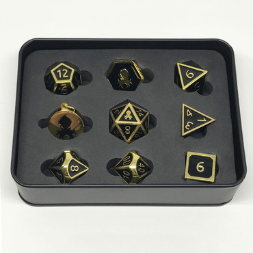 Pharaoh's Gold Onyx Metal RPG Dice