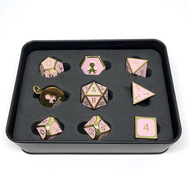 Pharaoh's Gold Rose Quartz  Metal RPG Dice