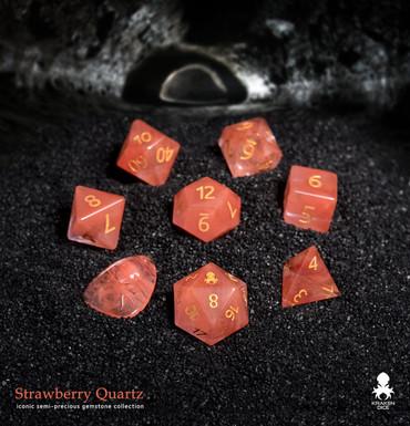 Strawberry Quartz Semi-precious Gemstone Dice Set