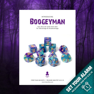 BoogeyMan  RPG 11pc Dice Set In Purple & Teal Blue