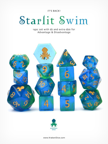 Starlit Swim 14pc DnD Dice Set With Kraken Logo