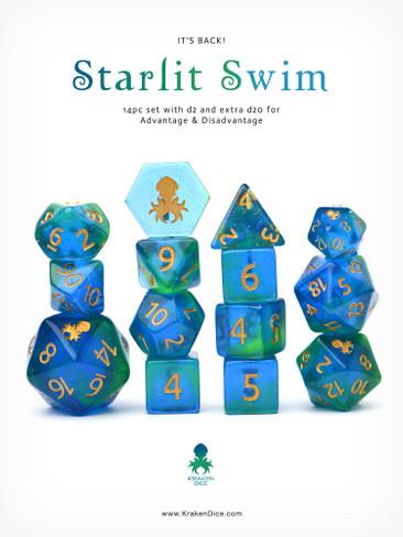 Starlit Swim 14pc DnD Dice Set With Kraken Logo