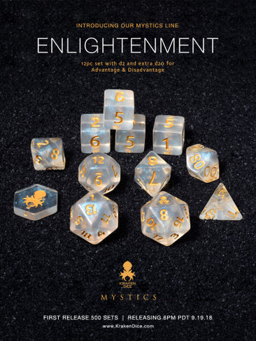 Enlightenment Mystics 12pc DnD Dice Set With Kraken Logo