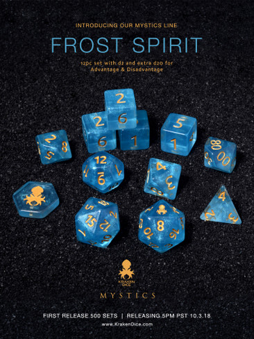 Frost Spirit Mystics 12pc DnD Dice Set With Kraken Logo