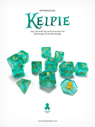 Kelpie 12pc DnD Dice Set With Kraken Logo