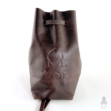 Freestanding Large Dice Bag In Chocolate Leather