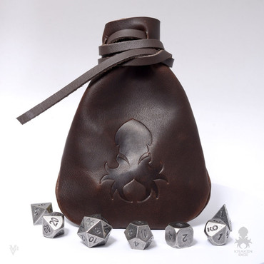 Medium Dice Bag In Brown Leather