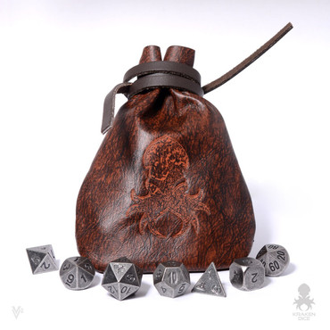 Medium Dice Bag In Red-Orange Leather