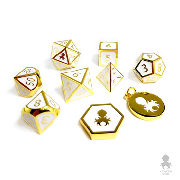 Paladin White & Gold 9 pc Metal Dice for D&D