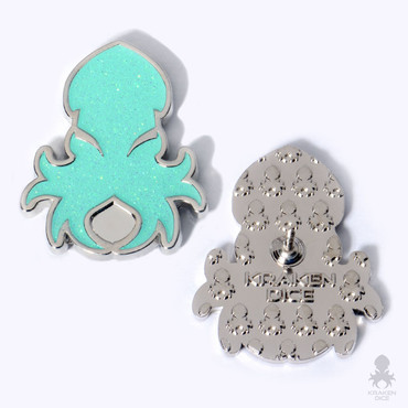 Kraken Logo Lapel Pin in Holo-Glitter Teal