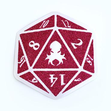 Kraken Logo Red Glitter D20 Sticker