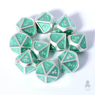 10pc Teal and Silver Metal D10 with Kraken Logo Dice Set for RPGs
