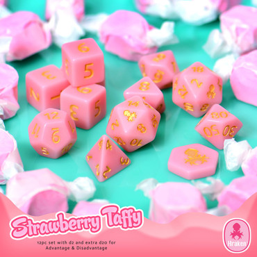Kraken Sweets Strawberry Taffy 12pc Matte DnD Dice Set With Kraken Logo