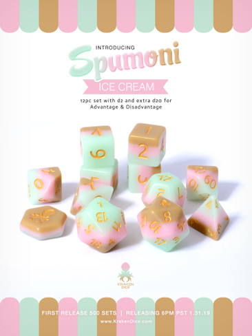 Spumoni Ice Cream 12pc Matte DnD Dice Set With Kraken Logo