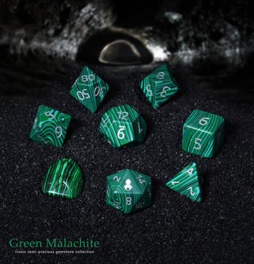 Green Malachite Semi-Precious 8 pc Glass Dice Set for RPGs