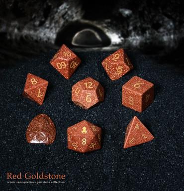 Red Goldstone Semi-Precious 8 pc Glass Dice Set for RPGs