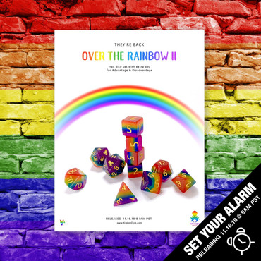 B Grade With Cosmetic Flaws- Over The Rainbow II 11pc Dice Set With Kraken Logo