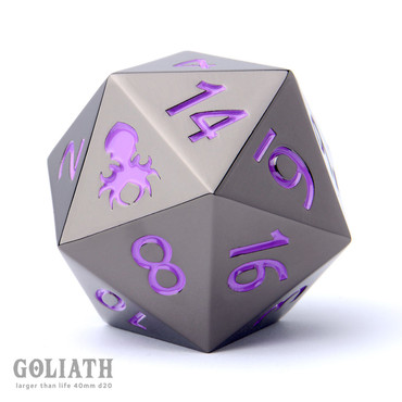Goliath Black Chrome with Purple 40mm Single D20