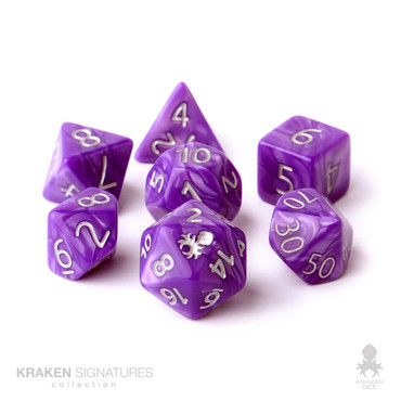 Kraken Signature's 11pc Purple with Silver Ink Polyhedral RPG Dice Set