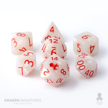 Kraken Signature's 11pc White with Red Ink Polyhedral RPG Dice Set