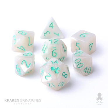 Kraken Signature's 11pc White with Teal Ink Polyhedral RPG Dice Set