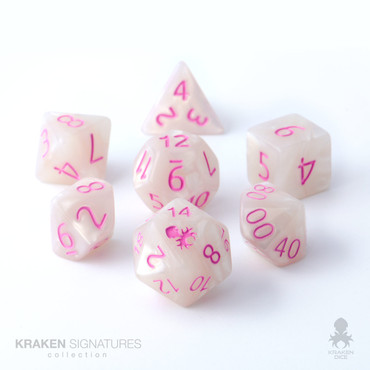 Kraken Signature's 11pc White with Pink Ink Polyhedral RPG Dice Set