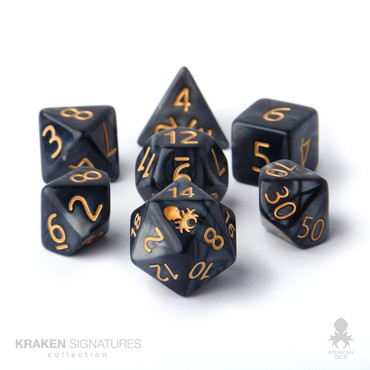 Kraken Signature's 11pc Black with Gold Ink Polyhedral RPG Dice Set
