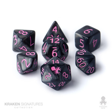 Kraken Signature's 11pc Black with Pink Ink Polyhedral RPG Dice Set