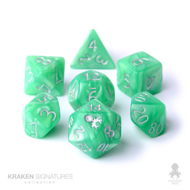 Kraken Signature's 11pc Spring Green with Silver Ink Polyhedral RPG Dice Set