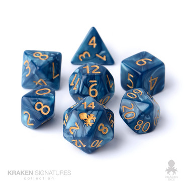 Kraken Signature's 11pc Cadet Blue with Gold Ink Polyhedral RPG Dice Set